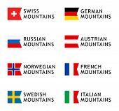 Set Of Logotypes Templates For Tours To Mountains, Alps, Scandinavia, Caucasian Mountains poster