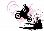foto of motocross  - Illustration of a motocross rider and grungy patterns - JPG