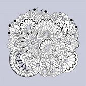 Hand Drawn Zen Tangled Floral Composition With Mandalas  For Home Art, Decorate Cards, Dishes,  Porc poster
