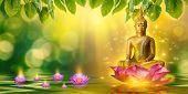 Buddha Statue Water Lotus Buddha Standing On Lotus Flower On Orange Background poster