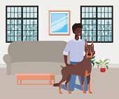 Afro Man With Cute Dog Mascot In The Livingroom Vector Illustration Design poster