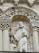 stock photo of poitiers  - Close up of carvings on the exterior of the cathedral in Poitiers France - JPG