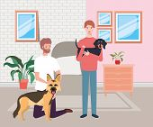 Young Men With Cute Dogs Mascots In The Livingroom Vector Illustration Design poster