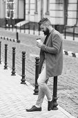 Enjoying Coffee Time. Walk And Enjoy Fresh Hot Coffee. Waiting For Someone In Street. Man Bearded Hi poster