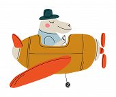 Hippo Pilot Flying On Retro Plane In The Sky, Cute Animal Character Piloting Airplane Vector Illustr poster