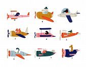 Collection Of Cute Animals Pilots Flying On Retro Planes In The Sky, Octopus, Bird, Crocodile, Bunny poster