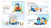 Online Financial Services Landing Page Flat Set. Exchange Currency Platform. Passive Income And Reve poster