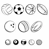 Set Of Balls. Collection Of Gaming Balls. Black White Illustration Of Balls For Sport. Linear Art. T poster