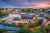 Luxembourg City, Luxembourg. Aerial Cityscape Image Of Old Town Luxembourg City Skyline During Beaut poster