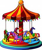 foto of carousel horse  - Children carousel with colorful horses - JPG