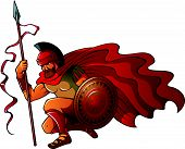pic of spartan  - Greek or Spartan warrior holding spear and shield - JPG