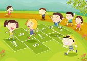 stock photo of hopscotch  - Ground of friends playing hopscotch in the park - JPG