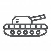 Army Tank Line Icon, Army And Force, Armature Sign, Vector Graphics, A Linear Pattern On A White Bac poster