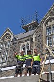 Christchurch Earthquake - Builders Repair Damaged Buildings At Historic Christs College.