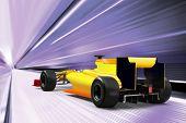 Постер, плакат: спортивный автомобиль вождение на высокой скорости пустой дороге motion blur