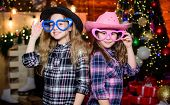 Girls Sisters Carnival Hats Costumes New Year Party. Kids Friends Celebrate Winter Holiday. Family C poster