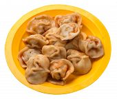 Dumplings On A Yellow Plate Isolated On White Background. Dumplings In Tomato Sauce. Dumplings Top S poster