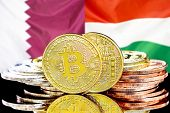 Concept For Investors In Cryptocurrency And Blockchain Technology In The Qatar And Hungary. Bitcoins poster