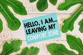 Word Writing Text Hello I Am Leaving My Comfort Zone. Business Concept For Making Big Changes Evolut poster