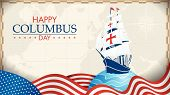 Happy Columbus Day Greeting Card. Blue Caravel On Circle With Blue Waves And Usa Flags In The Form O poster