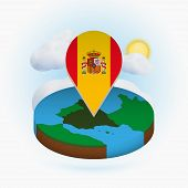 Isometric Round Map Of Spain And Point Marker With Flag Of Spain. Cloud And Sun On Background. Isome poster