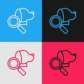 Color Line Veterinary Clinic Symbol Icon Isolated On Color Background. Magnifying Glass With Dog Vet poster