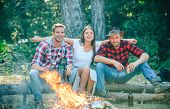 Friends Camping In Forest. Company Having Hike Picnic Nature Background. Friends Enjoy Weekend Barbe poster