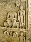 foto of gandhi  - Engraved statue of Buddha and his disciples inside a cave in Sanjay Gandhi National Park Mumbai India - JPG