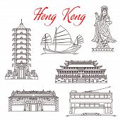 Hong Kong Travel Landmarks, Architecture And Famous Sightseeing Symbols. Vector Mazu Sea Goddess Or  poster