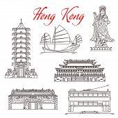 Hong Kong Travel Landmarks, Architecture And Famous Sightseeing Symbols. Vector Mazu Sea Goddess Or  poster