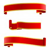 Set Flat Red Decorative Ribbons. Realistic 3d Red Glossy Decorative Congratulation Ribbons Set. Real poster