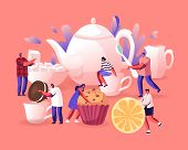 Tea Party, Hot Beverage For Cold Season Concept. Tiny Men And Women Prepare To Drink Tea With Pastry poster