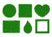 Green Grass Background 3d Set. Lawn Greenery Nature Ball, Heart, Drop, Frame. Abstract Soccer Field  poster