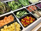 Fresh Salad Bar With Various Fresh Assortment Of Ingredients, Fruits And Proteins Variety Of Vegetab poster
