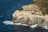 Splashing Waves On Rocky Cliffs. Atlantic Ocean At Sao Miguel Island, Azores, Portugal. Deep Blue Wa poster
