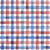 Watercolor Stripe Plaid Seamless Pattern. Blue And Red Stripes On White Background. Watercolour Hand poster