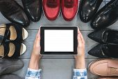 Footwear Tips Mock Up. Footwear Internet Store Concept. Digital Tablet With Blank Screen And Various poster