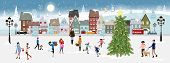 Winter Landscape At Night With People Having Fun In The Park,vector Illustration. City Landscape On  poster