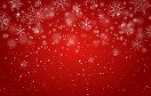 Red Bokeh Snowflakes Background. Xmas Beautiful Decor Image, Vector Christmas Lights And Snow Flakes poster
