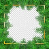 Christmas Tree Rectangular Frame On Transparent Background. Merry Christmas And Happy New Year Natur poster