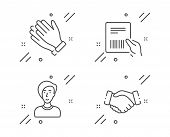 Parcel Invoice, Businesswoman Person And Clapping Hands Line Icons Set. Handshake Sign. Delivery Doc poster