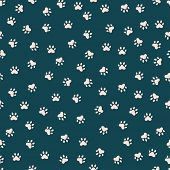 Seamless Pattern With Cute Cat Paws White Paws Pattern poster