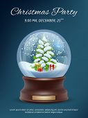 Christmas Poster. Transparent Crystallizing Magic Snowglobe Christmas Party Invitation Vector Placar poster