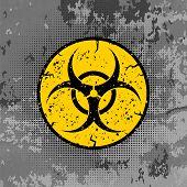Beware Biohazard Sign Isolated On Grey Grunge Background. International Hazard Symbol. Warning Icon  poster