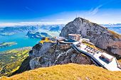 Pilatus Kulm Mountain Peak And Lucerne Lake View, Alpine Peaks Of Switzerland poster
