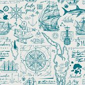 Vector Abstract Seamless Pattern On The Theme Of Travel, Adventure And Discovery. Vintage Repeatable poster