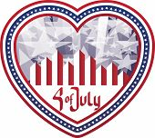 Heart Shaped Background Fourth Of July In Heart. No Fonts Were Used.