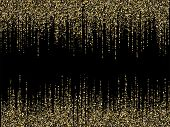 Golden Glitter Texture Lines Christmas Abstract Background. Closeup Shimmer Grains Illustration. Fes poster