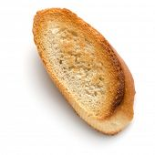 Toasted baguette slice isolated on white background close up.  Toast, crouton. Top view.. poster