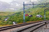railway in the mountains, Norway poster
